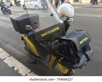 Rome, Italy - November 9, 2017: Motorbike of Poste Italiane, Italian Post Service