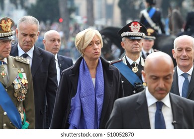 Rome, Italy - novembre, 4th 2016 - Celebratin of National Unity day and Armed Forces Day - Roberta Pinotti, Defense Minister