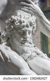 Rome, Italy - Oct 05, 2018: portrait of Aeneas in  sculpture by Gian Lorenzo Bernini