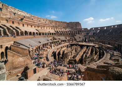 Rome, Italy - Oct 5, 2017: Tourist visit inside of Rome Colosseum in Italy. The Colosseum was built in the time of Ancient Rome. It is one of most popular tourist attractions in Rome, Italy.