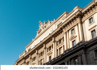 Rome, Italy - October 01 2019: Close up of the roof of the Italian Cassa Depositi e prestiti in Rome, with statues