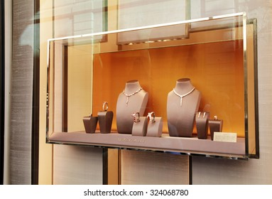 ROME, ITALY - OCTOBER 03 2015: Bulgari boutique in Rome, Italy. Window shows  the jewelry