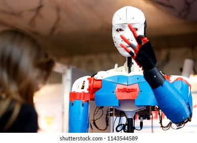Rome, Italy - October 04 2013: Robots are displayed during the Maker Faire in Rome.