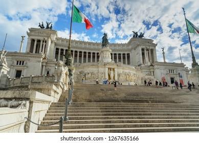 Rome, Italy - October 04, 2018: Vittorio Emanuele II Monument or Vittoriano