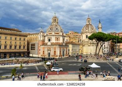 Rome, Italy - October 04, 2018: View of Piazza Venezia from Vittoriano, Vittorio Emanuele II Monument