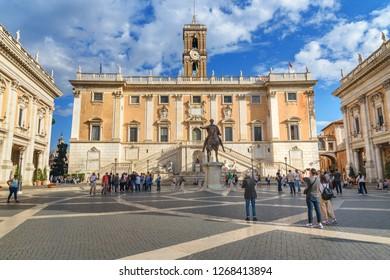 Rome, Italy - October 04, 2018: Piazza del Campidoglio in Capitoline Hill