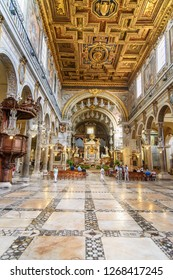 Rome, Italy - October 04, 2018: Interior of Basilica di Santa Maria in Ara coeli