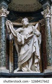 Rome, Italy - October 04, 2018: Statues of the Apostle St. Bartholomew inside of Basilica di San Giovanni in Laterano