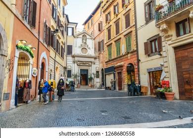 Rome, Italy - October 04, 2018: Chiesa di Santa Barbara dei Librai is small Catholic church in Rome