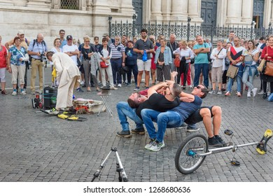 Rome, Italy - October 04, 2018: Street performance with the participation of comedian and ordinary people in Piazza Navona