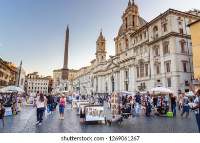 Rome, Italy - October 04, 2018: Art painters on Piazza Navona in Rome