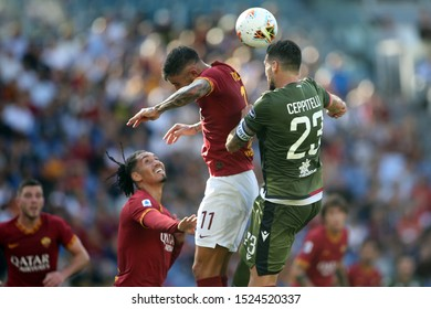 Rome, Italy - October 06,2019: Aleksandar Kolarov (AS ROMA), L.Ceppitelli (Cagliari) in action during the Italian Serie A soccer match  between AS ROMA and CAGLIARI, at Olympic Stadium in Rome.