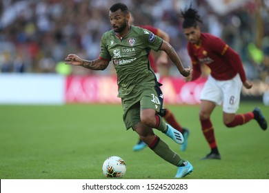 Rome, Italy - October 06,2019: Jooa Pedro (Cagliari) in action during the Italian Serie A soccer match  between AS ROMA and CAGLIARI, at Olympic Stadium in Rome.