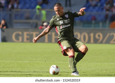 Rome, Italy - October 06,2019: R.Nainggolan (Cagliari) in action during the Italian Serie A soccer match  between AS ROMA and CAGLIARI, at Olympic Stadium in Rome.