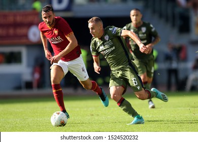 Rome, Italy - October 06,2019:Marko Rog (Cagliari) Bryan Cristante (AS ROMA) in action during the Italian Serie A soccer match  between AS ROMA and CAGLIARI, at Olympic Stadium in Rome.