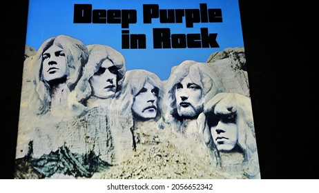 Rome, Italy, October 07, 2021, cover detail of Deep Purple in Rock, also known as In Rock, is the fourth album by the British group Deep Purple, released on June 5, 1970.