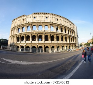 ROME, ITALY - OCTOBER 08, 2014: Street view near Colosseum in Rome, Italy