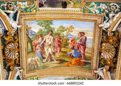 Rome, Italy - October 09, 2009:  Gallery of Geographical Maps located on the west side of the Belvedere Courtyard in the Vatican in Rome, Italy.