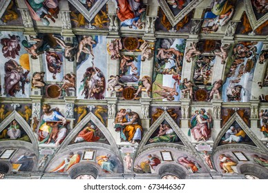 Rome, Italy - October 09, 2009: Sistine Chapel in the Art Gallery of the Vatican, Rome, Italy