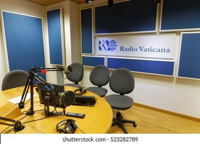 ROME, ITALY - OCTOBER 10, 2016: Vatican Radio Broadcast Studio, Palazzo Pio, ROME
