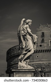 ROME, ITALY - OCTOBER 10, 2017: Photo of dark angel in black and white in Castel Sant'Angelo, Rome