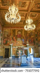 ROME, ITALY- OCTOBER 10, 2017:  The Hall of Captains in The Conservators Apartment in the Musei Capitolini