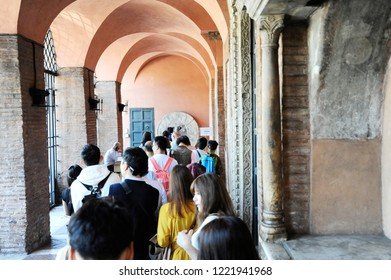 Rome, Italy – October 10, 2018: Visitors waiting to see the mouth of truth (Bocca della Verità). It attracts visitors who audaciously stick their hand in the mouth. Rome, Italy