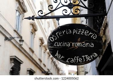 ROME, ITALY - OCTOBER 10, 2018: Sign of Italian restaurant in Rome, Italy