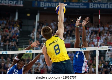 ROME, ITALY - OCTOBER 10: Brazil GLeandro Murilo Endres spikes ball at Volleyball World Championships  final match Brazil vs Cuba at Palalottomatica in Rome on October 10, 2010