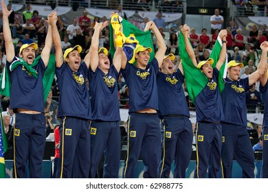 ROME, ITALY - OCTOBER 10: Brazil team celebrates victory after Volleyball World Championships  final match Brazil vs Cuba at Palalottomatica in Rome on October 10, 2010