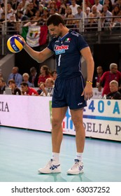 ROME, ITALY - OCTOBER 10: Italy Luigi Mastrangelo prepares to serve ball at Volleyball World Championships bronze medal match Italy vs Serbia at Palalottomatica in Rome on October 10, 2010