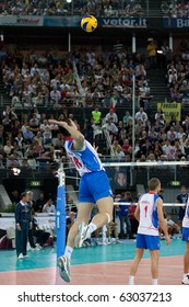 ROME, ITALY - OCTOBER 10: Serbia Marko Podrascanin serves ball at Volleyball World Championships bronze medal match Italy vs Serbia at Palalottomatica in Rome on October 10, 2010