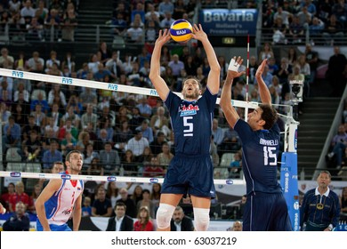 ROME, ITALY - OCTOBER 10: Italy Valerio Vermiglio sets ball at Volleyball World Championships bronze medal match Italy vs Serbia at Palalottomatica in Rome on October 10, 2010