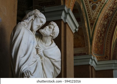ROME, ITALY - October 11, 2014: Statue depicting the 'Judas' kiss' scene from the Bible inside the Lateran Palace in Rome.