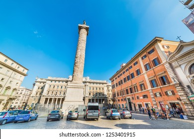 Rome, Italy - October 12, 2017: Police and tourists in Piazza Colonna in Rome, Italy