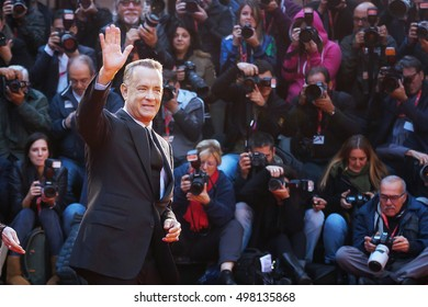 Rome, Italy - October 13, 2016: Tom Hanks on the red carpet at the 11th film festival in Rome, greets the audience.