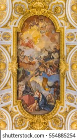 Rome, Italy - October 13, 2016: Ornate ceiling of the baroque Church of St. Louis of the French, San Luigi dei Francesi in Rome, Italy near Piazza Navona, known for Caravaggio paintings in its chapel.