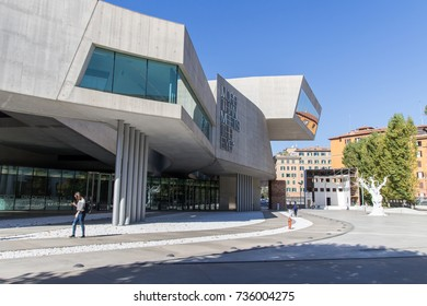 ROME - ITALY, October 13, 2017: External view of the Maxxi National Museum, a museum of contemporary art and architecture designed by British architect Zaha Hadid in 2010.