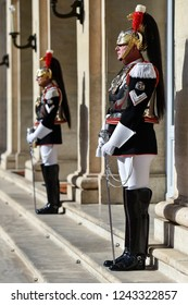 ROME, ITALY - OCTOBER 15, 2018: Italian national guard of honor during a welcome ceremony at the Quirinale Palace.