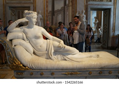 Rome, Italy - October 15, 2019: People attends at Borghese gallery and the  statue of Antonio Canova: Pauline Bonaparte