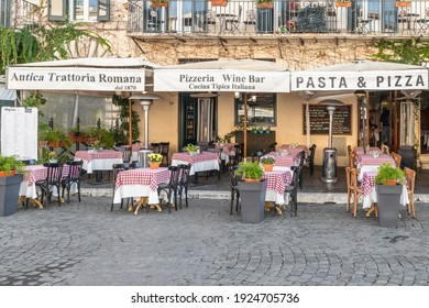 Rome, Italy – October 15,2020: Italian restaurant and pizzeria in the heart of Piazza Navona in Rome, Italy