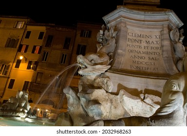 Rome, ITALY - OCTOBER 16, 2011 - Fountain in the center of Rome at night.