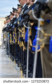 Rome, Italy - October 16, 2018: Soldiers from Italy's  national guard of honor during a military ceremony at Altar of the Fatherland in Rome.