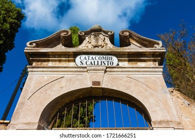 ROME, ITALY - OCTOBER 17, 2015: The entrance of Catacomb of Callixtus, one of the biggest
