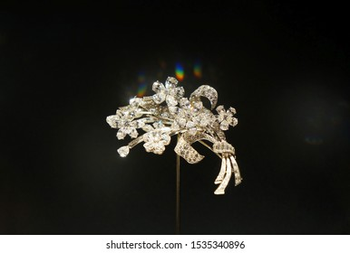 Rome, Italy - October 17, 2019:  Beautiful diamond brooch of Bvlgari on the display