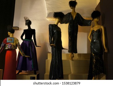 Rome, Italy - October 17, 2019:  Beautiful evening  dresses of Bvlgari on the display