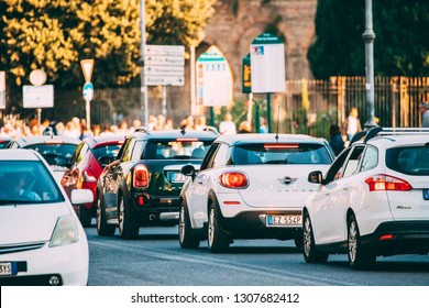 Rome, Italy - October 19, 2018: Traffic Jam. Many Cars Stopped On Street In European City In Sunny Summer Day.