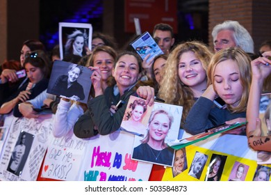 Rome, Italy - October 20, 2016. American actress Meryl Streep followers waiting impatiently step on the red carpet of their idol, at the Rome Film Festival.