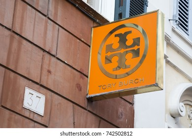 ROME, ITALY - OCTOBER 20, 2017:  Tory Burch sign for store, is an American fashion label owned, operated and founded by American designer Tory Burch.