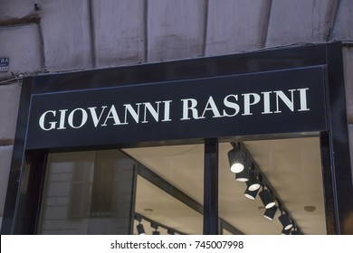 ROME, ITALY - OCTOBER 20, 2017:  Giovanni Raspini store logo, Jewels and Silverware Made in Italy.